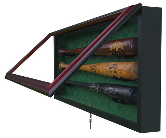 3 Bat Display Case with UV protective glass