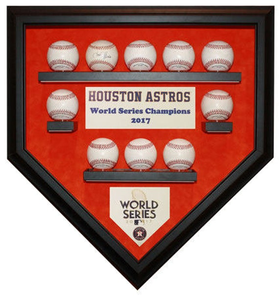 Houston Astros 10 Baseball 2017 World Series Champions Homeplate Shaped Display Case