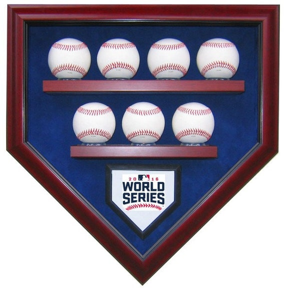 Chicago Cubs 7 Baseball 2016 World Series Champions Homeplate Shaped Display Case
