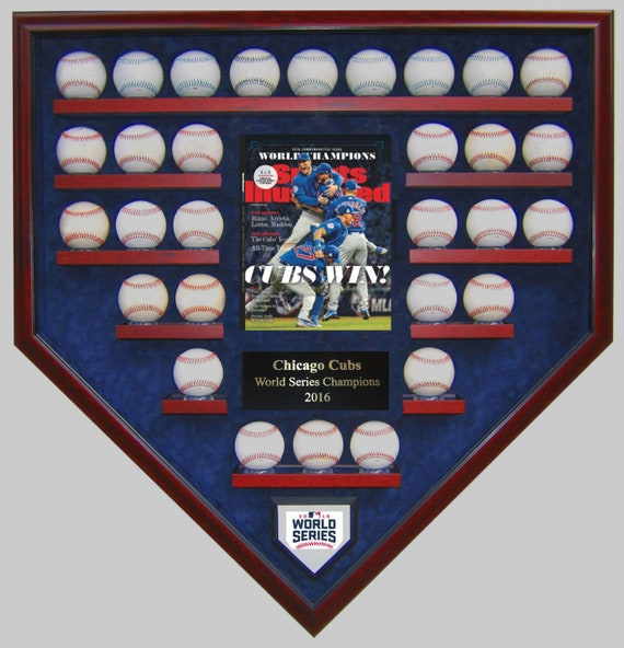 Chicago Cubs 30 Baseball with a Sports Illustrated Cover Reprint 2016 World Series Champions Homeplate Shaped Display Case