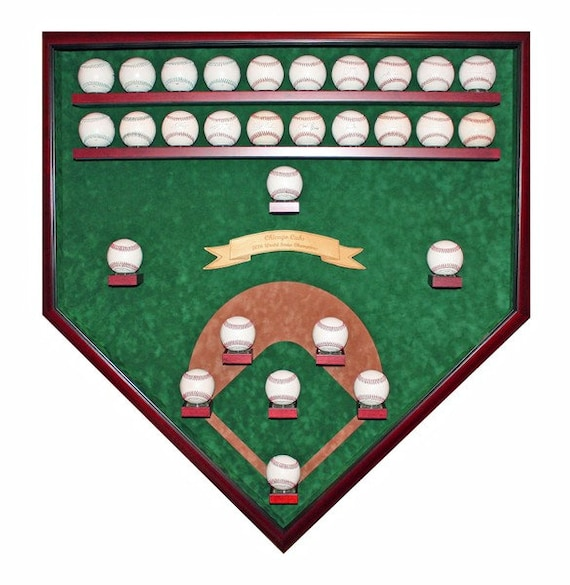 Chicago Cubs 25-29 Baseball Field View 2016 World Series Champions Homeplate Shaped Display Case