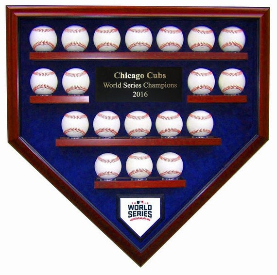 Chicago Cubs 19 Baseball 2016 World Series Champions Homeplate Shaped Display Case