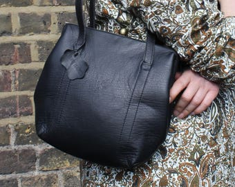 Dolly Clip Frame Shoulder Bag in Black Waxy Leather