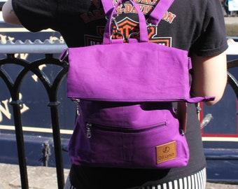 Amelie Purple vegan ruckbag convertible from backpack to messenger