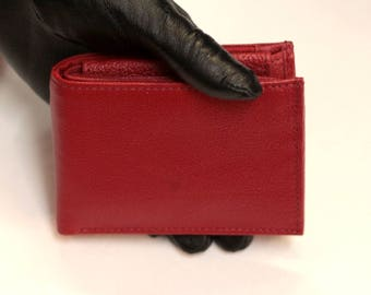 Large Tiny Wallet Red Leather
