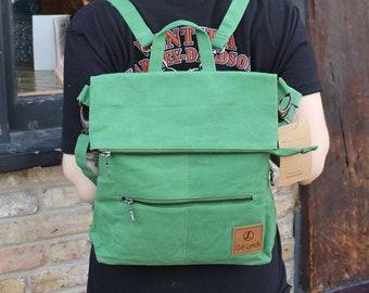 Amelie Green vegan ruckbag convertible from backpack to messenger