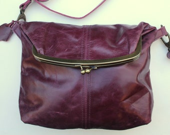 0851eceee0b3 Dublin Medium Clip Bag Purple Leather