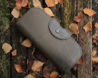 Big Fat Large Olive Leather Wallet Vintage Style Handmade Kiss clip Clutch with Multicompartment