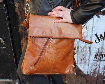 Odilynch Amelie, Tan smooth Leather Bag, Adjustable Messenger, Shoulder Bag, Cross-body, Foldover Zip Bag