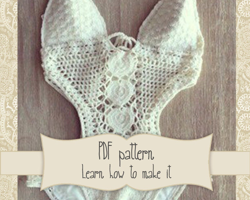 Pattern For White Crochet Swimsuit Onepiece Crochet Lace Etsy