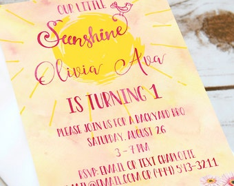 Girls Birthday Party Invitation - Ray of Sunshine - Invitation - Gerbera Daisies, Watercolor & sunshine!