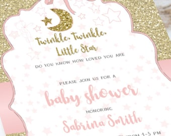 Baby Shower Invitation - Twinkle, Twinkle, Little Star - Gold Glitter with stars and sweet drawings