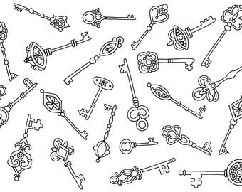 Skeleton Keys Digital Download Coloring Page