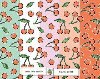 Cherry Print, Cherries, Digital Paper, Digital Pattern, Paper Background, Digital Download, Digital Prints, Seamless Pattern, Vector Pattern