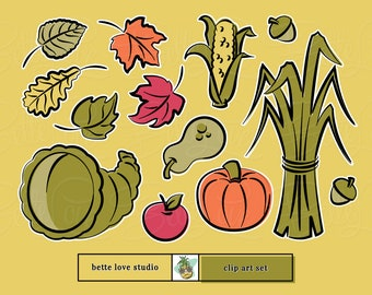 Fall Harvest Clip Art, Fall Clipart, Autumn Clipart, Pumpkin Spice Clip Art, Pumpkin Clipart, Cornucopia, Corn, Apple, Fall Leaves Clipart