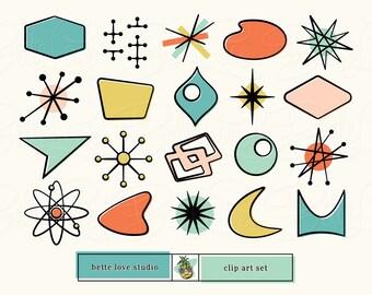 Retro Clip Art, Retro Clipart, Mid Century Modern Design Icons, Atomic Starburst, Retro Signs, Mid Century Modern Clip Art, 1950s Clip Art