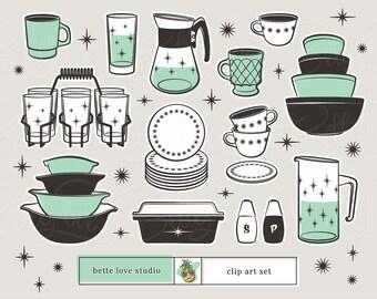 Retro Kitchen Clip Art, Atomic, Retro, Mid-Century Modern, Vintage, Cups, Casserole Dish, Vintage Glass, Retro Glass, Retro Clipart