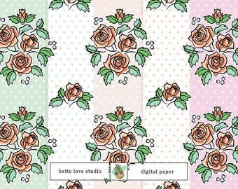 Vintage Roses Pattern, Vintage Pattern, Digital Paper, Digital Pattern, Paper Background, Digital Prints, Seamless Pattern, Vector Pattern