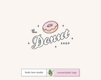 Logo Design, Customizable Logo, Semi Custom Logo, Retro Logo, Vintage Logo, Donut Logo, Party Logo, Restaurant Logo, Bakery Logo, Sprinkled