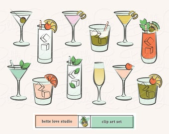 cocktail clip art   mojito   martini   bloody mary   happy hour clipart   retro cocktails   cocktail party   retro drinks   cocktail party  