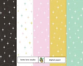 Stardust Pattern, Retro Star Pattern, Digital Paper, Digital Pattern, Paper Background, Digital Prints, Seamless Pattern, Vector Pattern