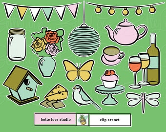 Garden Party Clip Art, Party Clipart, Summer Clip Art, Spring Clip Art, Wine and Cheese Clipart, Diner Party Clip Art, Butterfly Clip Art