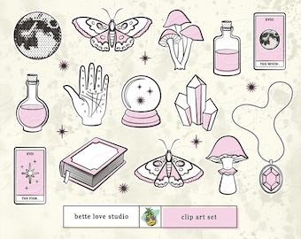Mystic Moon Clip Art, Halloween Clip Art, Halloween Clipart, Magic Clipart, Mystical Clip Art, Magical Clip Art, Clipart