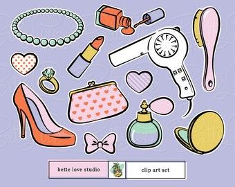 Sugar and Spice Clip Art, girly clip art, girl clip art, sweet 16 clip art, makeup clip art, dress up clip art, slumber party clip art