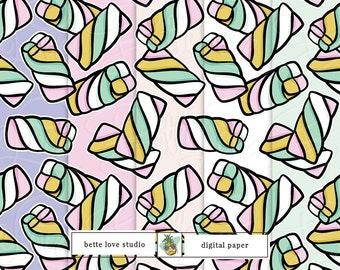 Marshmallow Twists, Retro Candy Pattern, Digital Paper, Digital Pattern, Paper Background, Digital Prints, Seamless Pattern, Vector Pattern
