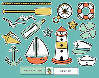 Nautical Clip Art, Sailor Clip Art, Sailing Clip Art, Retro Clip Art, Retro Clipart, Mid Century Modern Clip Art, 1950s Clip Art