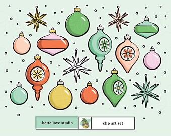 Christmas Clip Art, Vintage Christmas Ornaments, Retro Ornaments Clip Art, Retro Design Elements, Retro Clip Art, Mid-Century Modern