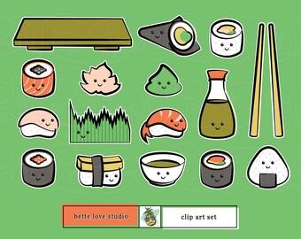 Cute Sushi Clip Art Set, Clip Art, Clipart, Kawaii Clip Art, Kawaii Sushi, Sushi Clip Art, Japanese Clip Art, Sushi Illustration, Kawaii