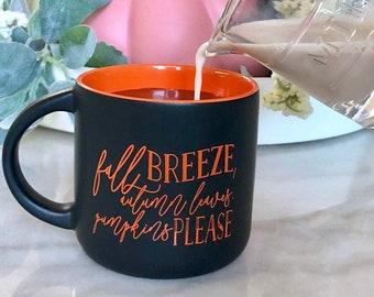 Fall Mug, Pumpkin Mug, Fall Campfire Mug, Fall Gifts, Fall Decor, Pumpkin Spice Latte, Fall Mug, PSL Mug, Pumpkin Decor, Orange Mug