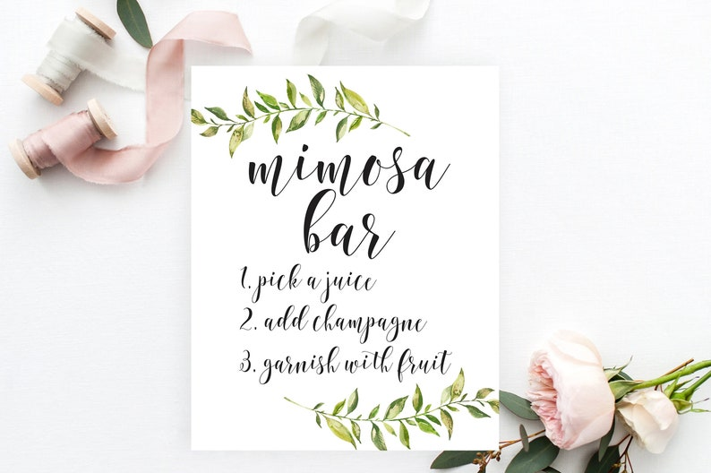 image relating to Mimosa Bar Sign Printable titled Greenery Mimosa Bar Indicator, Greenery Bridal Shower Signal Printable, Summertime Shower, Boho Bridal Shower, Backyard Bash, Bubbly Bar Champagne, BRS6