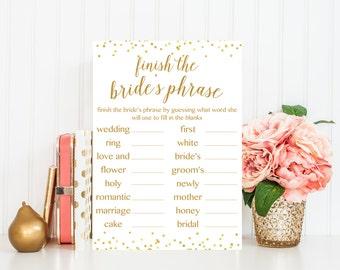 Finish the Bride's Phrase Game, Bridal Shower Games, Bridal Shower Game Printable, Who Knows the Bride Best, Bridal Shower Printable BRS1