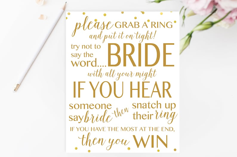 picture regarding Printable Bridal Shower Game titled Gold Dont Say BRIDE Match Printable, Bridal Shower Online games Printable, Bridal Shower Video game, Bridal Shower Printable Video games, Gold Game titles BRS1