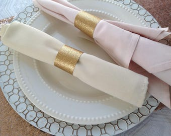 Gold Glitter Wedding Napkin Rings, Party Table Napkin Rings, Bling Napkin  Rings, Rehearsal Dinner Napkin Rings, Table Napkin Rings
