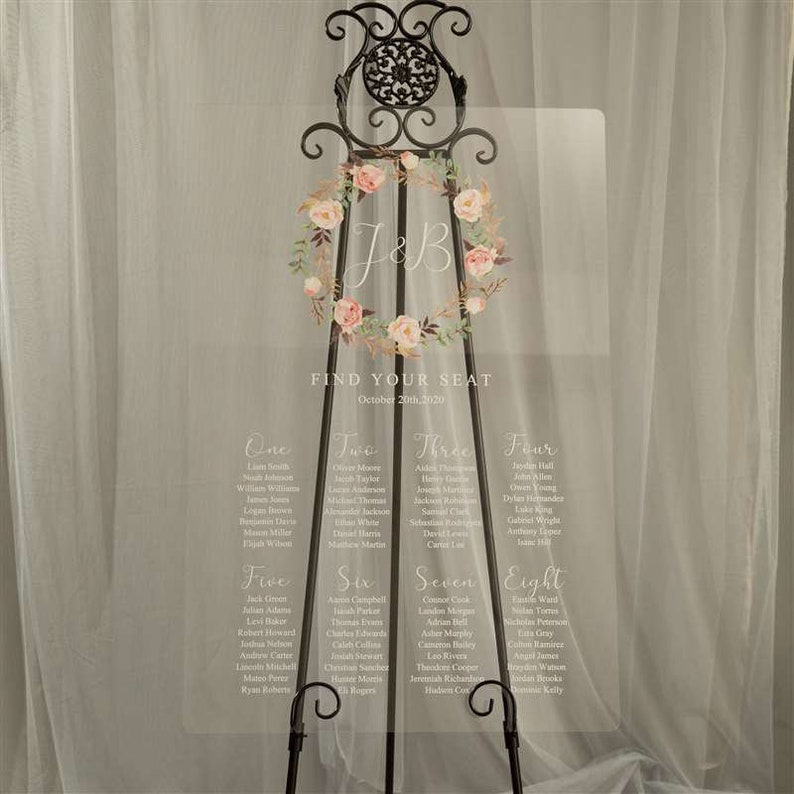 Wedding Seating Sign Custom Acrylic Seating Chart Welcome Seating Chart Floral Wreath Acrylic Seating Chart