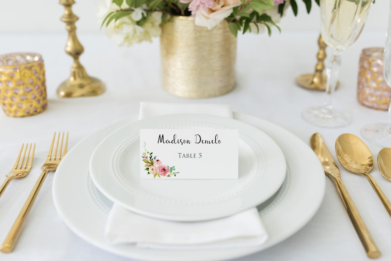 Watercolor Wedding Place Cards Floral Place Cards Wedding Escort Cards