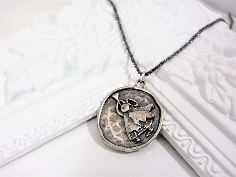 angel charm necklace 925 sterling silver angel charm necklace silver angel Silver Angel Playing music charm necklace angel playing music