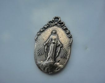 Solid bronze Virgin Mary charm or pendant, Virgin Mary, bronze Virgin Mary