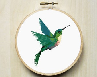 Colourful Hummingbird Animal Counted Cross Stitch Pattern   Instant Download PDF