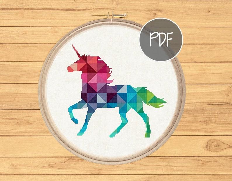 Geometric Unicorn Cross Stitch Pattern Colourful Rainbow Etsy