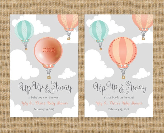 Up Up And Away Peach Teal Hot Air Balloon Eos Lip Balm Party Favor Cards