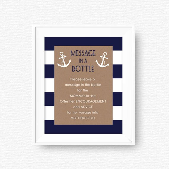 Baby Shower Message | Nautical Baby Shower Message In A Bottle Sign Advice For Etsy