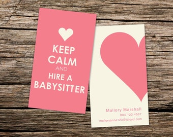 Nanny/Babysitting Custom Business Card - KEEP CALM and hire a BABYSITTER