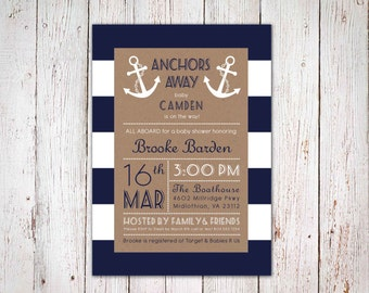 Anchors Away - Nautical Baby Shower Invitation