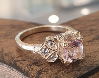 Vintage Engagement Ring Pink Morganite 14k Yellow Gold, Unique Engagement Ring For Women, Antique Jewelry