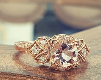 Morganite Engagement Ring 14k Rose Gold White Diamonds, Vintage Engagement Ring, Antique Jewelry, Rings For Women
