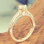 Antique Engagement Ring Victorian White Diamond 14K Yellow Gold, Vintage Engagement Ring Hand Engraved Milgrain Band
